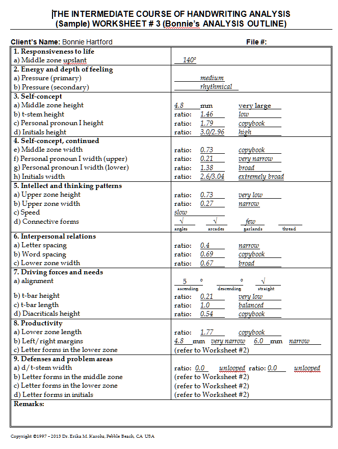 intermediate course worksheet example